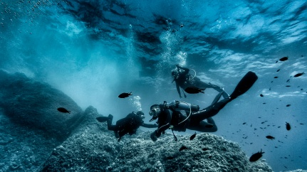 Divers descending - Golfe Juan, France