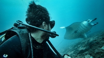 Self portrait with a Manta Ray - Nusa Penida, Bali, Indonesia