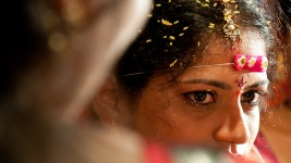 The bride is overcome with emotions, on her wedding day, India.